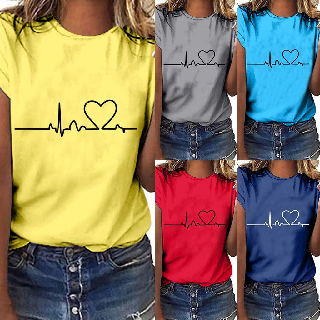 Plus Size Heart Printed Tees Casual Short Sleeve T Shirts Loose Summer Blouse Tops Malbaba Women Summer Tee