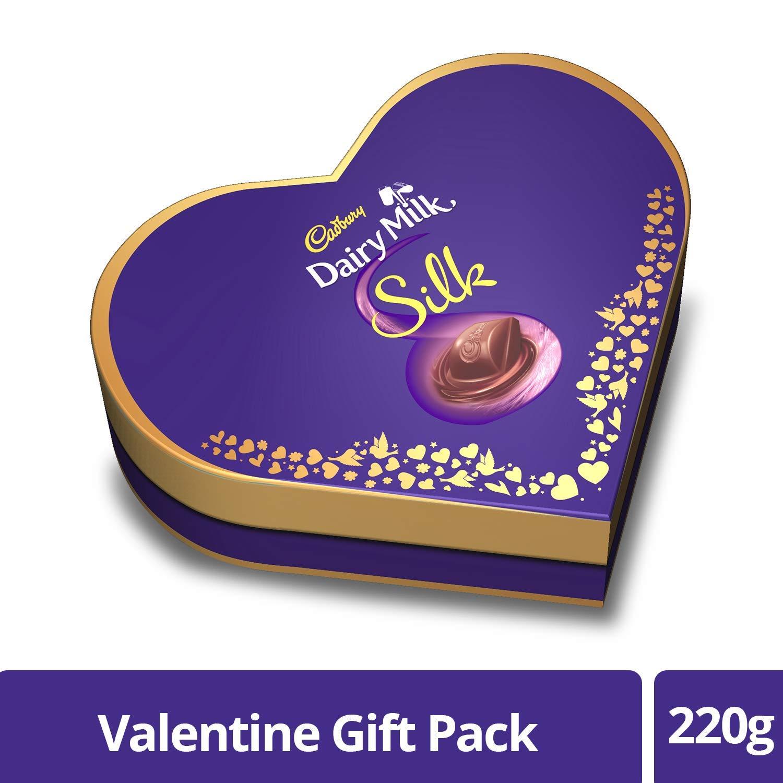 5f15bf818cbf Cadbury Dairy Milk Silk Heart Shaped Valentine Gift Pack (2 x Silk 60g + 2  x Silk Bubbly 50g)