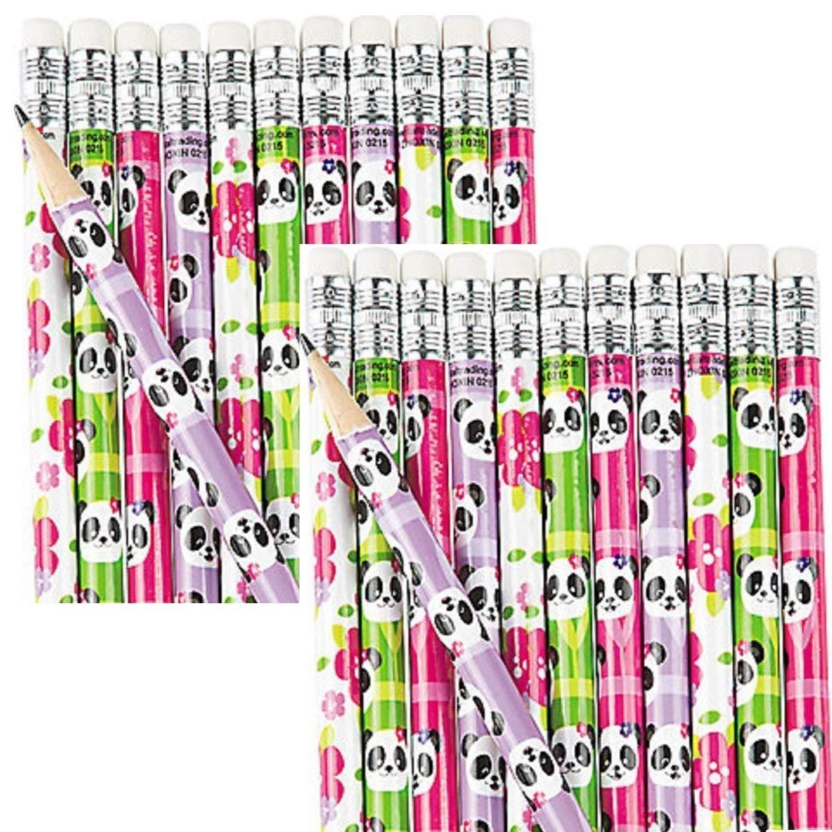 24 Pieces Fun Express Educational School Panda Pencils