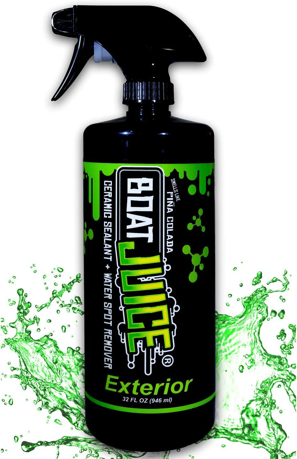 Boat Juice - Exterior Cleaner - Ceramic SiO2 Sealant - Water Spot Remover - Gloss Enhancer - Pina Colada Scent - 32oz Sprayer Bottle