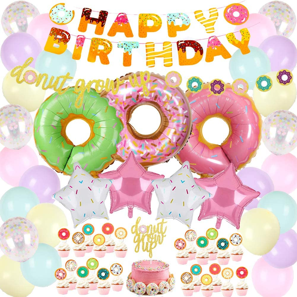 Donut Garland Banner Donut Foil Balloon Latex Balloon and Donut Cupcake Topper for Girls Boys Kids Birthday Party Decorations Donut Happy Birthday Party Supplies Kit