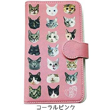 6b6af77089 Amazon | [猫基金付]手帳型 スマホケース(リアル猫, コーラルピンク/全6 ...