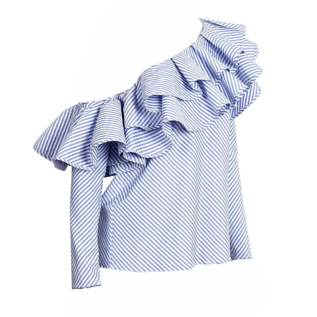 M-Egal One Shoulder Off Ruffles Blouse Shirt Women Tops Blue Striped Long Sleeve Cotton Blouse