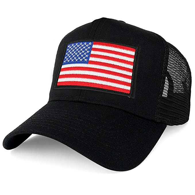 5eb5d2aea71 Armycrew XXL Oversize White Black Border USA Flag Patch Mesh Back Trucker  Baseball Cap - Black