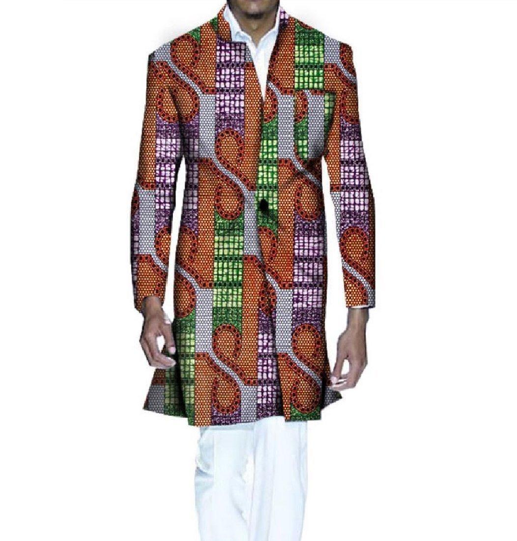 Vska Mens Coat Bomber Jacket Printing Dashiki Africa Mid Long Windbreakers 1 XS by Vska