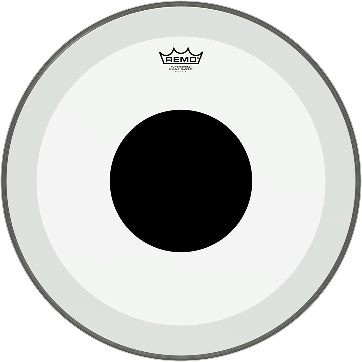 Remo P31320-10 Clear Powerstroke 3 Bass Drum Head - 20-Inch - Black Dot 71NeF2VCLjL