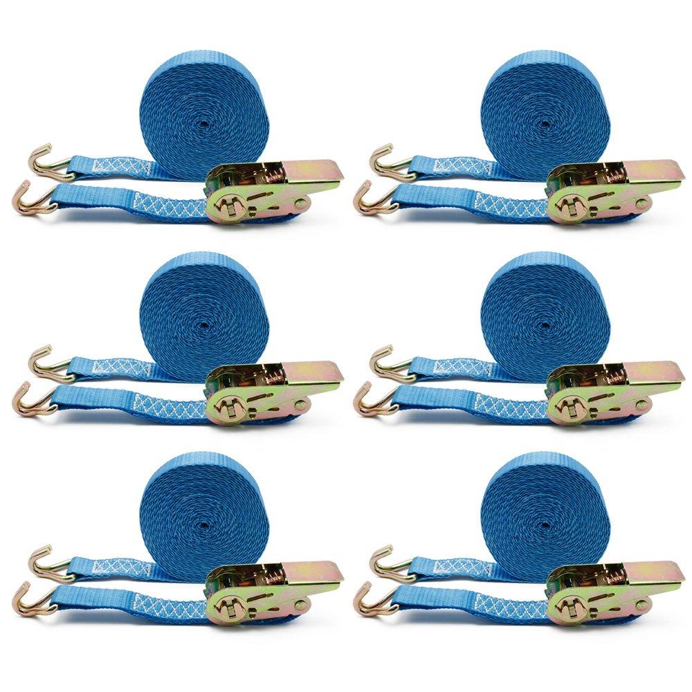 6 x Sangles d'arrimage spanngurt avec sangle à cliquet Sangles à cliquet 25mm x6m Camion 400/800 kg bleu everbest4u