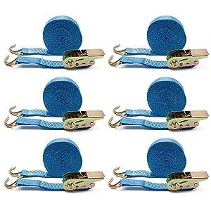 6 x amarre trinquete correa tensora Cinta trincaje 6 m x 25 mm 800kg azul