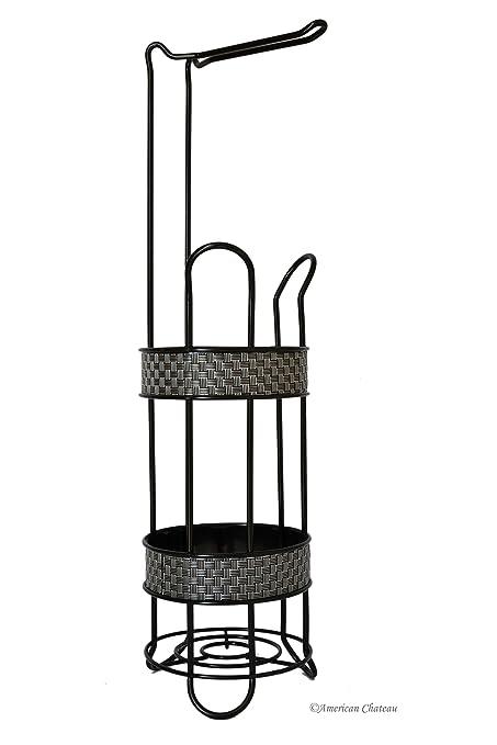 basket silver weave floor black metal toilet paper roll holder