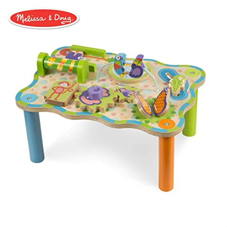 Melissa Doug First Play Jungle Wooden Activity Table Baby Toddler Toy Sturdy Wooden Construction Helps Develop Fine Motor Skills 11hx 12 Wx