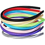 """HipGirl Satin Fabric Wrapped DIY Craft Headband for Girl Baby Teen Kid Toddler Children Adult. Assortment Fashion Accessory To Match Outfits, Dresses (12pc Assorted Bright Color, 3/8"""" Inch Wide)"""