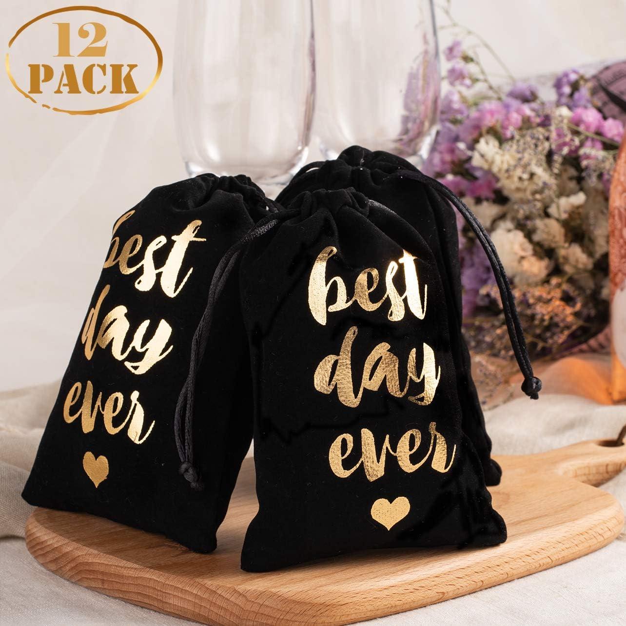 Whaline - 12 bolsas de terciopelo para despedida de soltera con cordón para decoración de bodas, fiestas, bodas, fiestas, damas de honor, fiestas, bodas, fiestas o regalos de boda, 10 x 15 cm