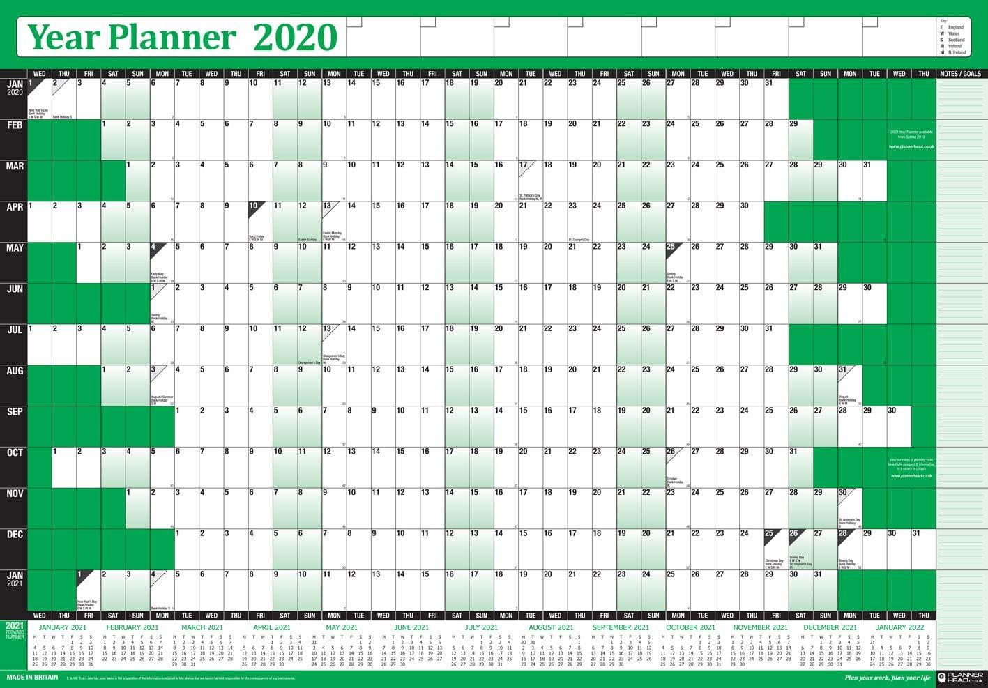 2021 Wall Planner Calendar Chart 13 month view Home Office Staff Holidays BLUE