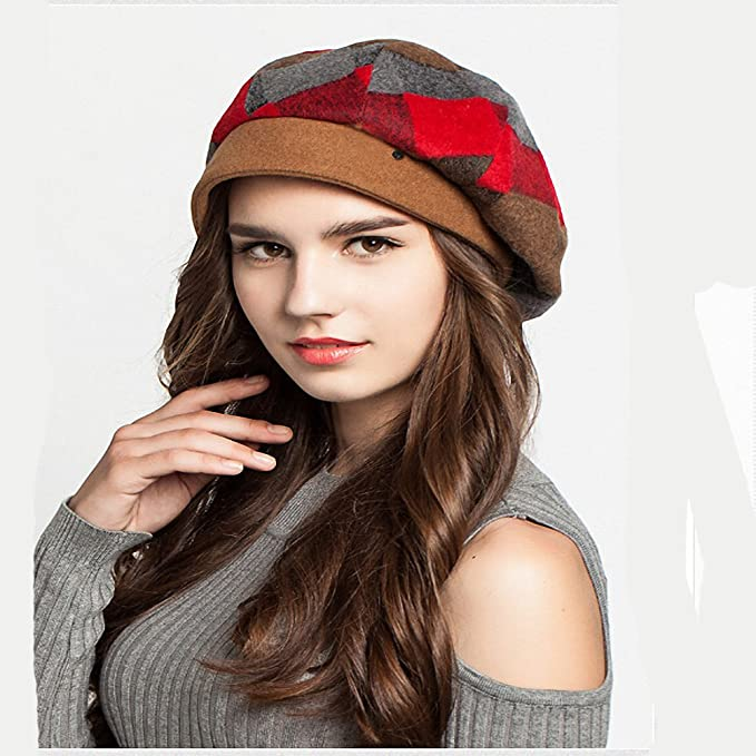 df1225549f5 Maitose Trade  Women s Scottish Plaid Wool Peaked Cap Beret Green at Amazon  Women s Clothing store
