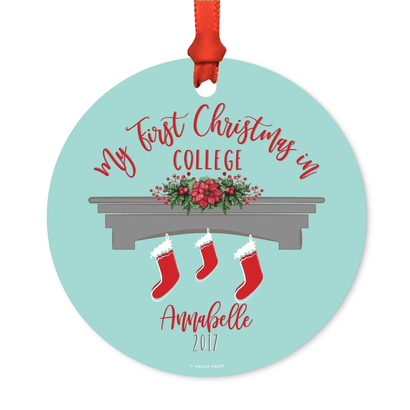 Andaz Press Personalized Graduation University Student Christmas Metal Ornament, My First Christmas in College 2018, Xmas Stockings on Fireplace, 1-Pack, Includes Ribbon and Gift Bag, Custom Name
