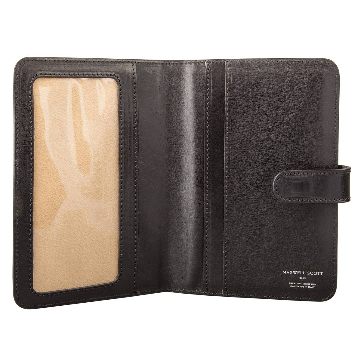 Maxwell Scott Personalized Black Leather Travel Document Wallet (Vieste) by Maxwell Scott Bags