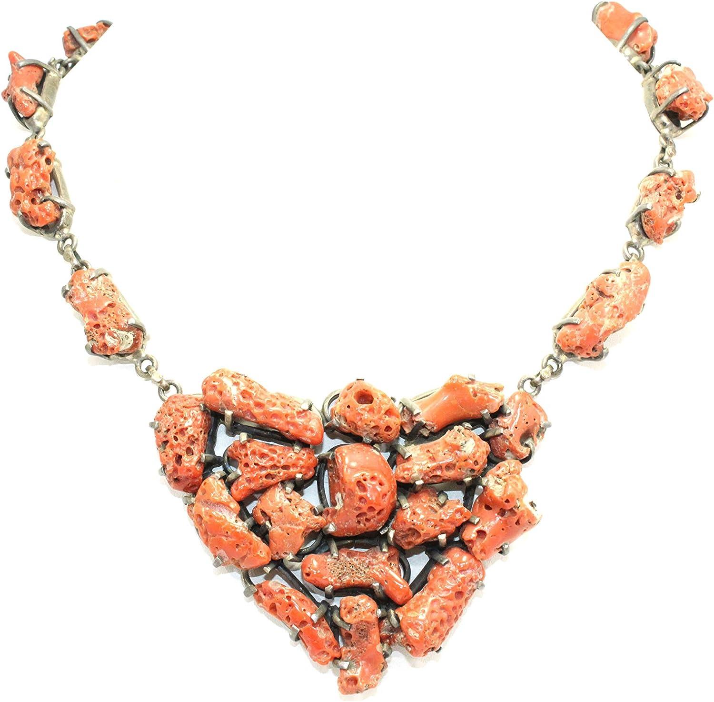 PH - Collar antiguo hecho a mano de plata de ley 925 con piedra de coral sin fósil