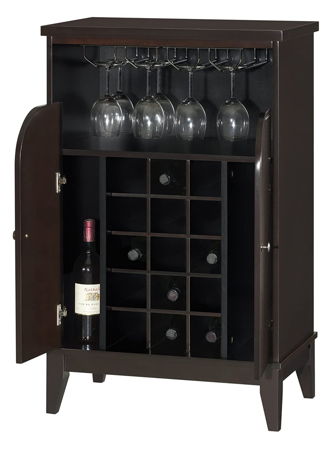 Baxton Studio Easton Modern and Contemporary Wood Dry Bar and Wine Cabinet, Dark Brown Wholesale Interiors RT378--OCC