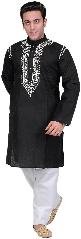 Exotic India Black Kurta Pajama with Lucknavi Embroidery on Neck - Schwarz