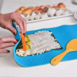 """SchwartsCount Silicone Sushi Mat - Rice Rolling - Hygienic - Large 12""""x14"""" Inch - Blue & Silicone Yellow Rice Spatula - Spoon"""
