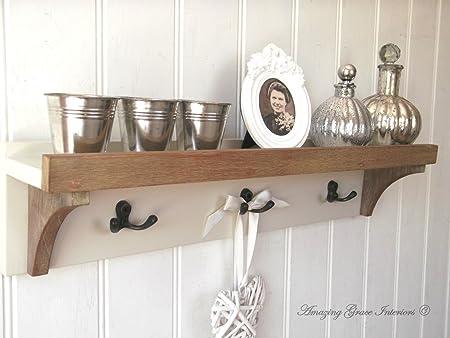 Shabby Chic Wall Unit Shelf Storage Cupboard Cabinet Coat Hooks Rack Unique Coat Hook Rack With Shelf