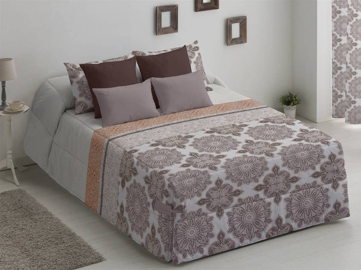 Camatex - Conforter Sonia Cama 180 - Color Granate (edredón de Acolchado Grueso época de frío con Cintas y Botones como Sistema de Ajuste)