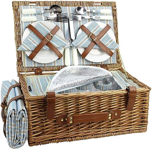 HappyPicnic - Juego de cestas de picnic de mimbre para 4