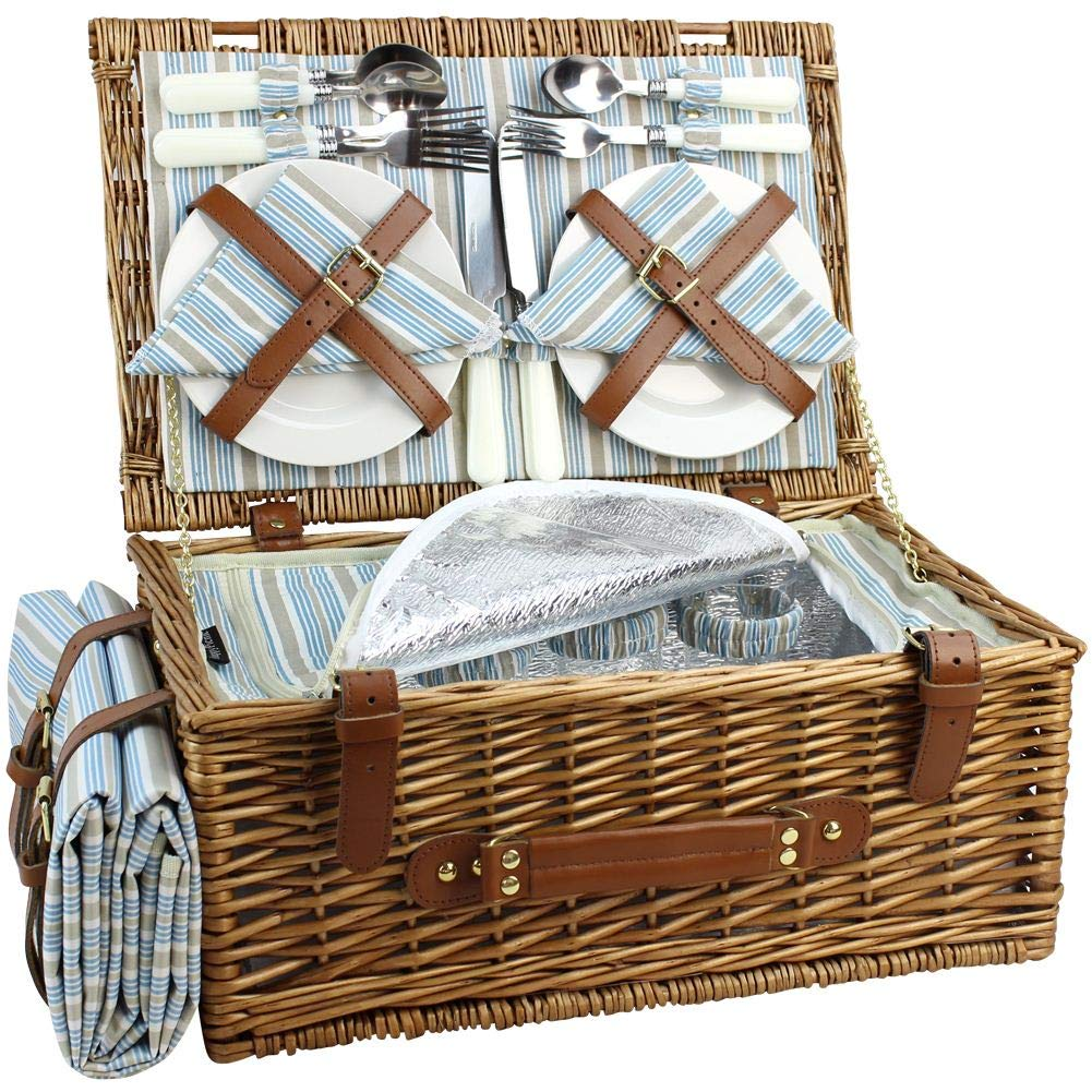 HappyPicnic Wicker Picnic Basket Set for 4 Persons | Large Willow Hamper with Large Insulated Cooler Compartment, Free Waterproof Blanket and Cutlery Service Kit-Classical Brown by HappyPicnic
