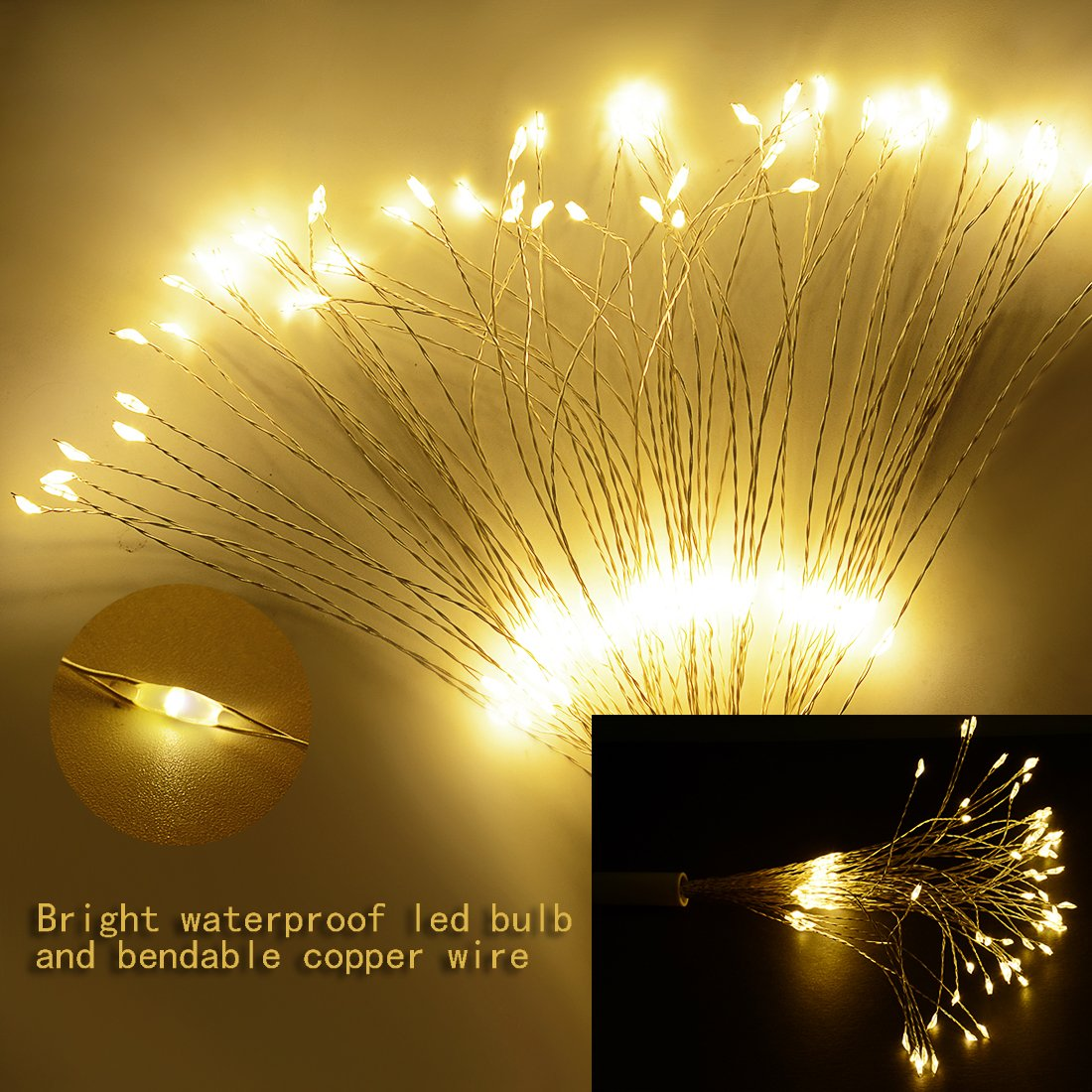 LED String Light,2 Pack Battery Operated Hanging Starburst Light 120 LED Bouquet Shape lights,Fairy Twinkle Light 8 Modes Dimmable with Remote Control,Decoration for Outdoor Home Patio(Warm White) by Elitlife (Image #5)