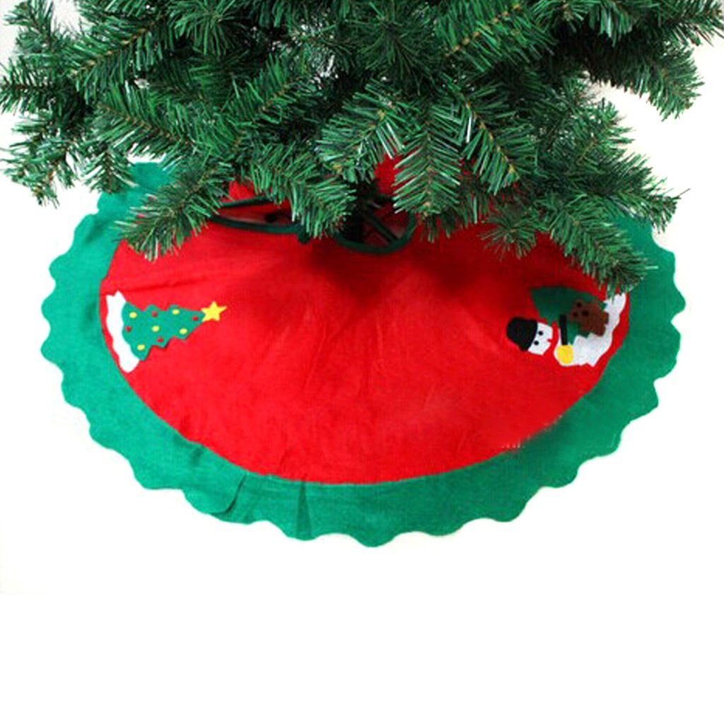 HANGQI 90cm Diameter Christmas Tree Skirt Party Xmas Holiday Decor Decoration