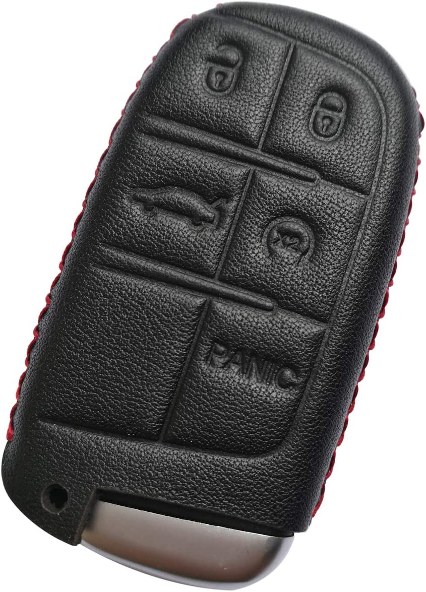 Shenwinfy Leather Key Fob Cover and Keychain for Jeep Cherokee Wrangler Compass Renegade Patriot Dodge Challenger Chryster 300 4 Buttons Black