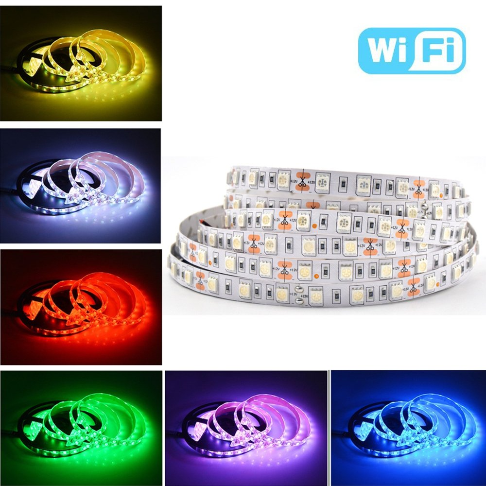 Smart LED Strip Light , Alexa Voice Control and Smart Phone control: Turn on/off ,Dimming light and Voice Change color,5M/16.4 Ft SMD 5050 RGB 300 LED