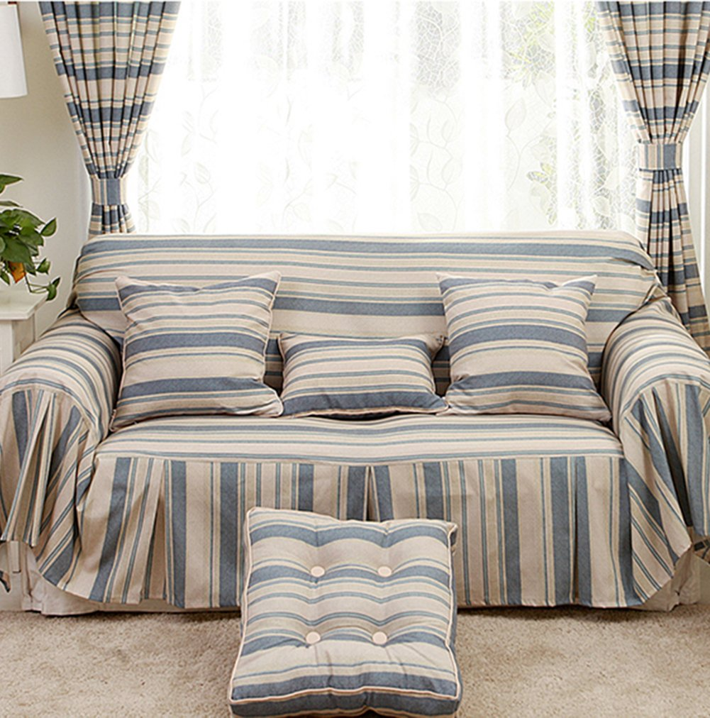 Sofa cover 1-piece polyester striped sofa slipcover protector anti-slip wear-resistant cover cloth for sofa-A 360x200cm(142x79inch)