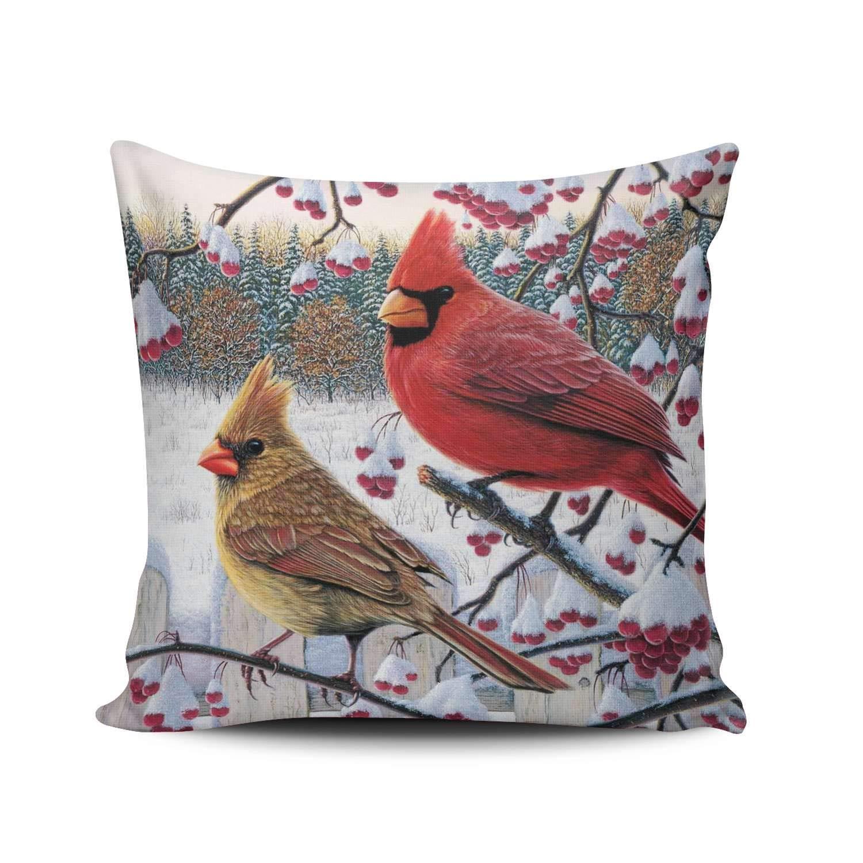ANLIPU パーソナライズされた装飾枕カバー 面白い赤のカーディナルバードアート かわいい鳥 スロー枕カバー ケース インチ 両面印刷 18