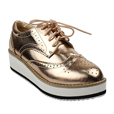 90266e1fb79a BESTON DE19 Women s Platform Wingtips Wedge Heel Oxford Shoes Run One Size  Small