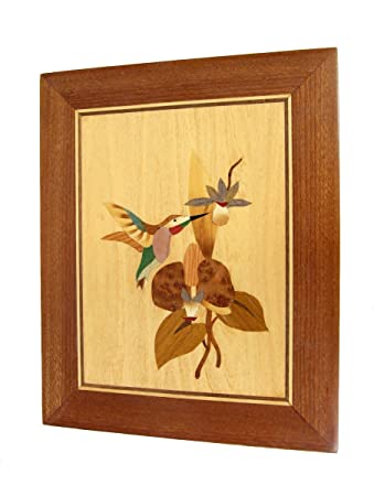 Amazon.com: Handmade Wood Veneer Inlay Marquetry / Intarsia Wall ...
