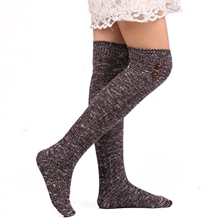 3f58cd8c04b53 Challyhope Women's Cozy Soft Leg Warmer Buttons Decor Knee-High Boot Socks  Leggings