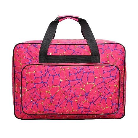 Bolsa para máquina de coser, bolsa de transporte universal de nailon, funda de almacenamiento acolchada universal con bolsillos y asas, nailon, Rose ...