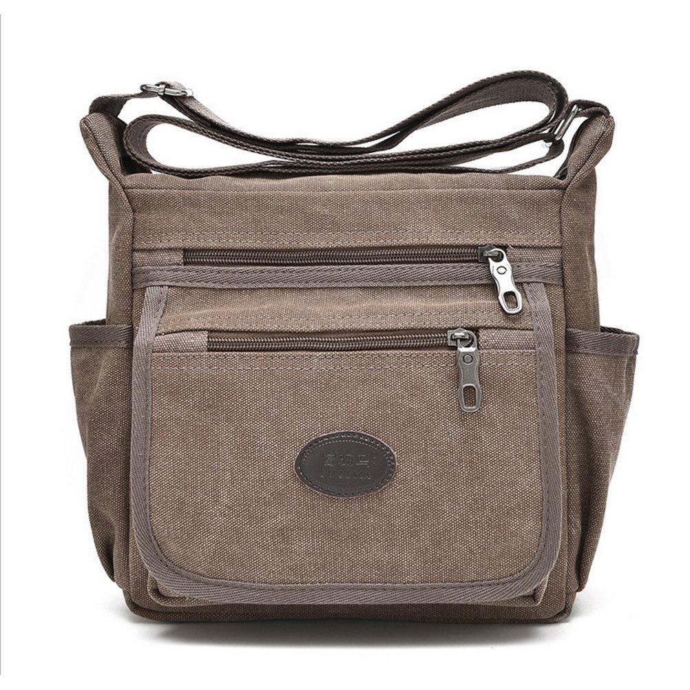 Qflmy Vintage Canvas Messenger Bag Handbag Crossbody Shoulder Bag Leisure Change Packet (coffee)