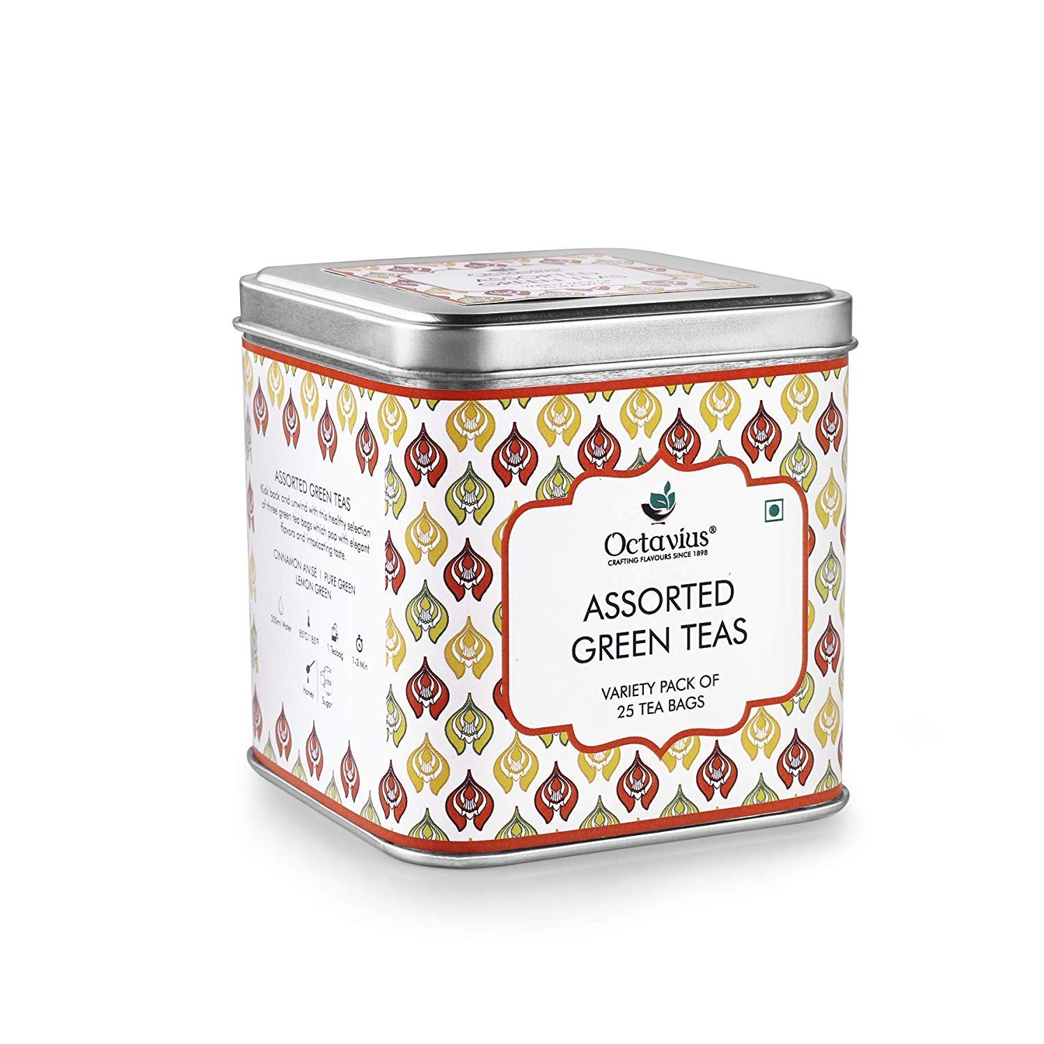 Octavius Assorted Green Teas | Variety Pack of 25 Tea Bags in Gift Box, 3 Assorted Tea Flavors in Green Teas | Pure Green| Lemon Green | Cinnamon Anis