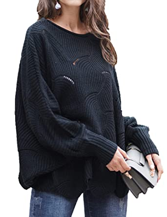 e4c8e22a9 Relipop Women s Pullover Batwing Sleeve Loose Hollow Knit Sweaters Black