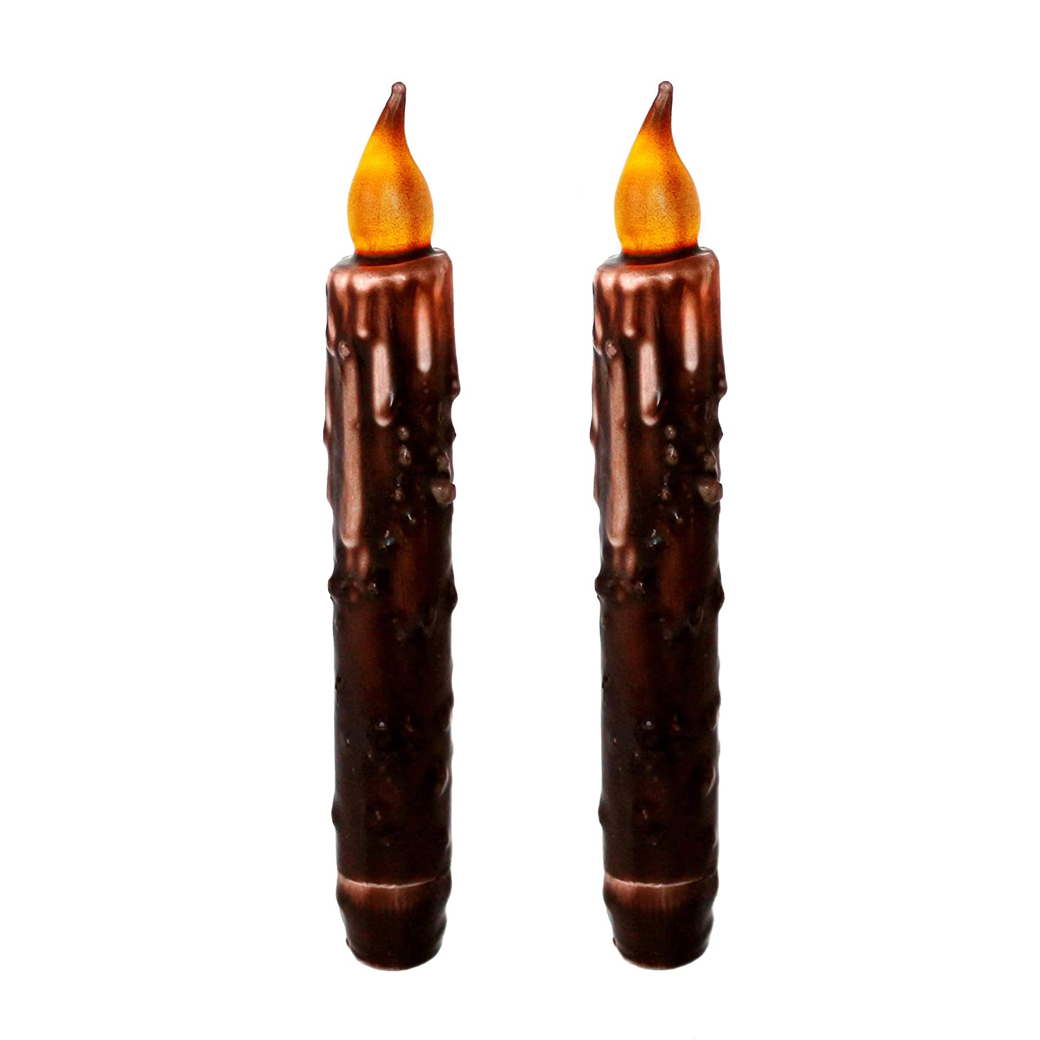 CVHOMEDECO. Real Wax Hand Dipped Battery Operated LED Timer Taper Candles Country Primitive Flameless Lights Décor, 6-3/4L, Brown, 2 PCS in a Package 6-3/4L CV00020