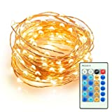 Led String Lights, TaoTronics Dimmable String Light 100 LEDS 33ft Star Starry Copper Wire For Holiday Party Wedding Decoration ( UL certified 5v Adapter)