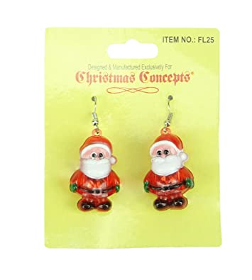 2d05eb3d6 Light Up Christmas Earrings - Flashing Jewelry - Novelty Christmas Dress Up  (SANTA): Amazon.co.uk: Jewellery