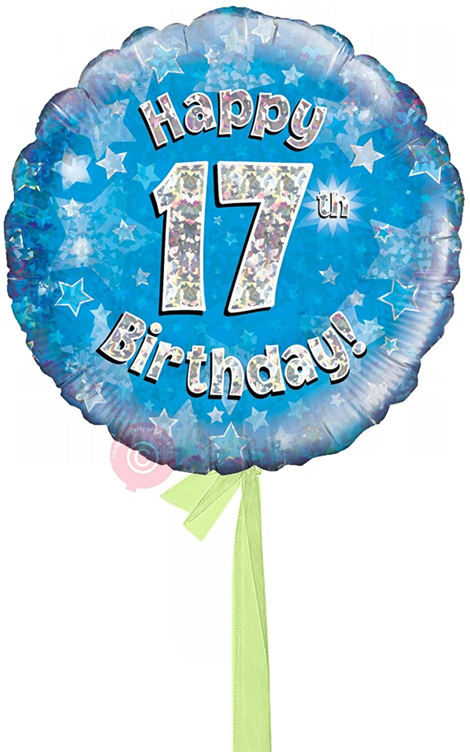 Single Balloon Num 17 Happy 17th Birthday bluee Holographic  Inflated Birthday Helium Balloon Delivered in a Box  Biggest Bouquet  10 Balloons  Bloonaway