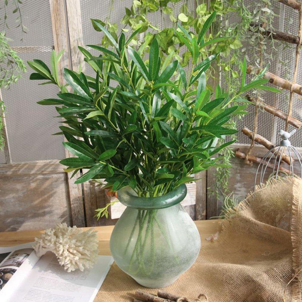 人工植物デコレーションインドア、人工植物フェイク葉葉草ブッシュウェディングパーティーホームガーデン装飾 グリーン B07B2XX64F  グリーン