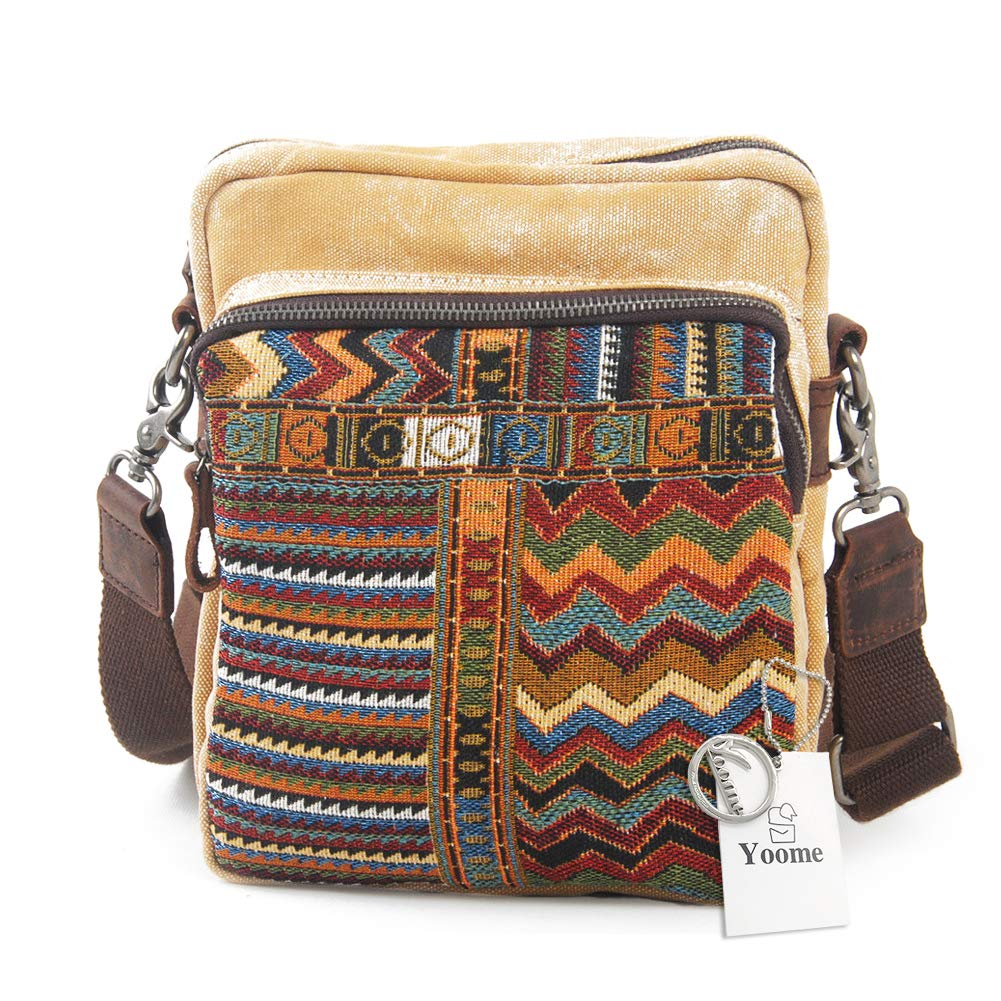 Yoome National Wind Messenger Bag Multifunctional Canvas Crossbody Shoulder Bag for Men /& Women
