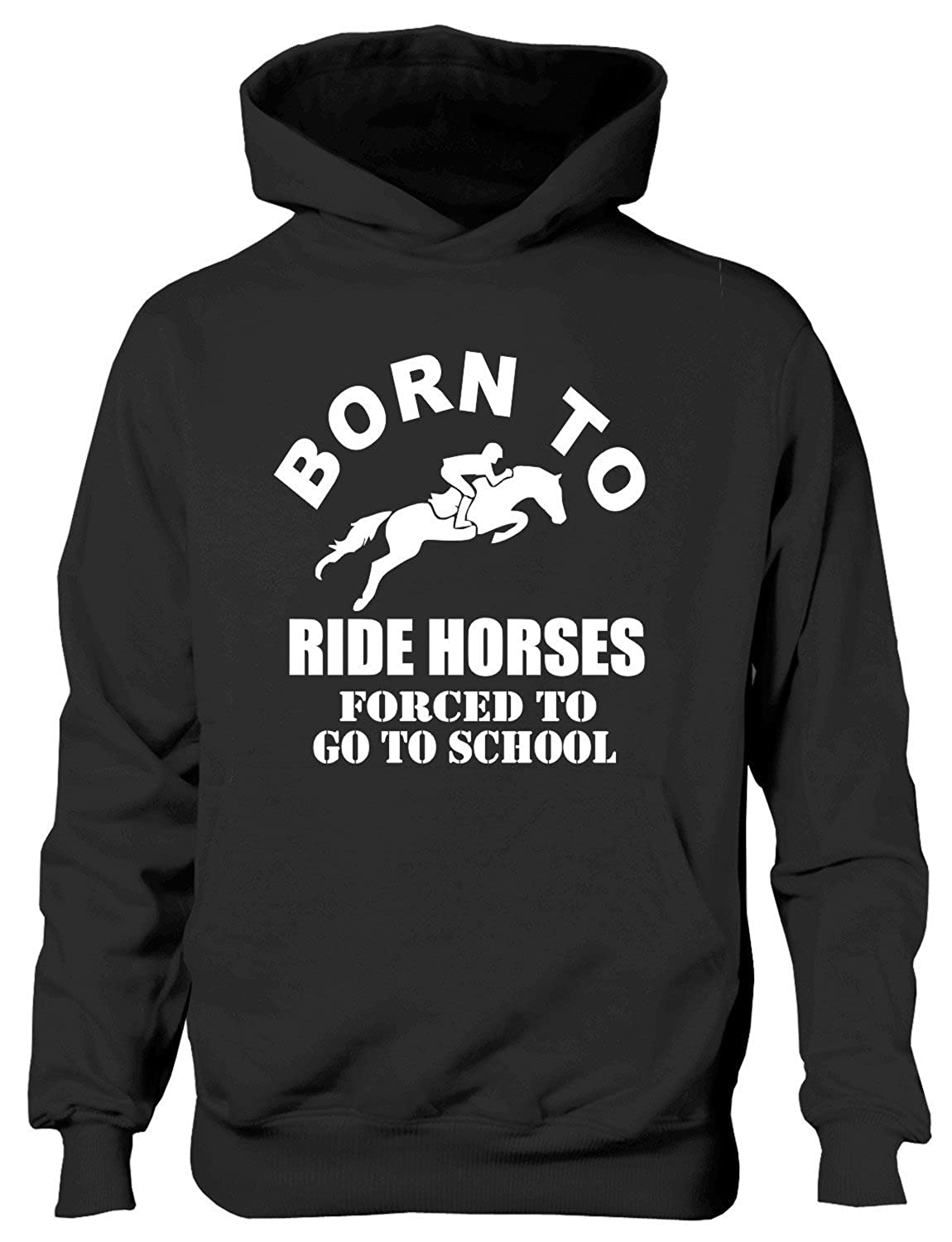 Print4U Born to Ride Horses Forced to Go to School Kids Hoodie Age 1-13 Years