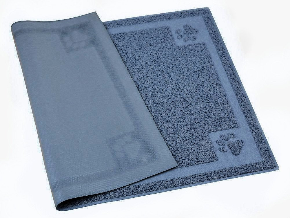 PALMOO Premium Non-Slip Cat litter mat Medium size for little pet Traps Litter from Box and Paws, Soft on Sensitive Kitty Paws, Easy to Clean, Durable. 24L 16W (gray)