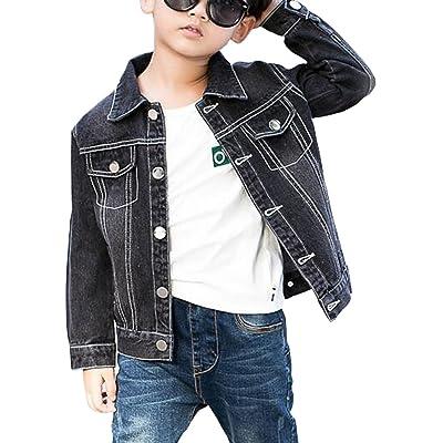 MYtodo Boys Black Denim Jacket Kids Autumn Long-Sleeved Jean Coats